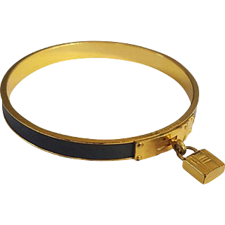 Vintage Hermès Gold Plated Gray Leather Kelly Bangle
