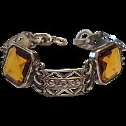 Art Deco Citrine Color Glass Bracelet