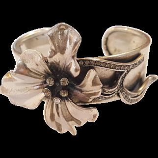 Art Nouveau Style Cuff Bracelet Lily and Crystal