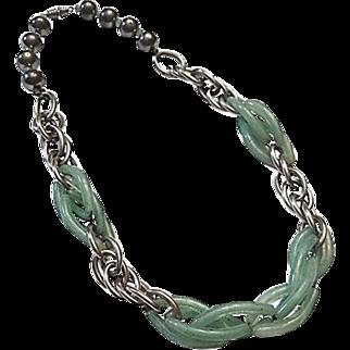 Peking Glass Link Machine Age Necklace