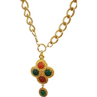 Chanel Gripoix Glass Cross Necklace