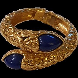 Nugget Texture Clamper Bracelet Blue Cabochon Stones