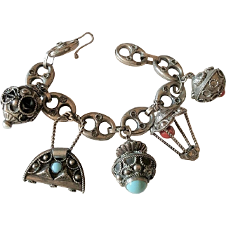 Old Etruscan-Style Charm Bracelet ITALY