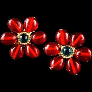 Chanel Gripoix Red Green Flower Earrings