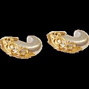 Inna Cytrine Silver Lucite Matte Gold Tone Filigree Earrings