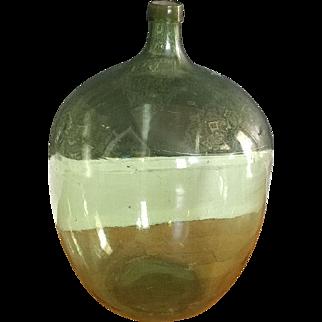Vintage Wine Hand Blown Green Glass Demi John Jug