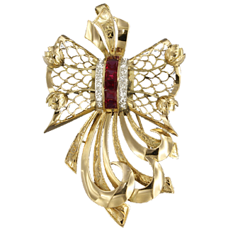 Early 20th century 14k bicolour Retro Brooch set with Rubies and Diamonds