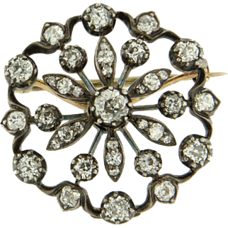 Victorian brooch and pendant with old European cut diamonds