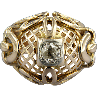 Early 20th century 18k rose golden Ring with Diamond
