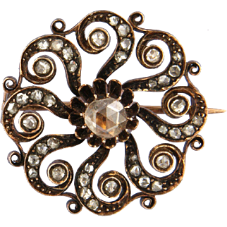 Victorian Brooch with rose cut diamonds