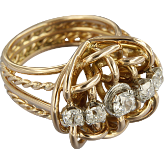 Early 20th century 18k rose golden Ring with Diamond set in 950/1000 platinum
