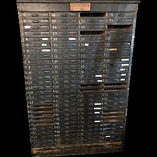 Antique 105 Drawer Printers Cabinet