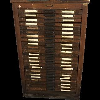 Antique Oak Hamilton 24 Drawer Printers Cabinet