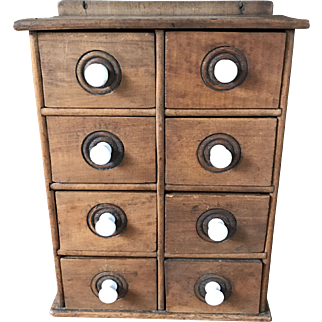 Antique Spice Cabinet With Porcelain Knobs