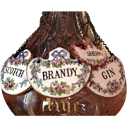 Set Of Four Crown Staffordshire Liquor Bottle Markers