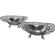Pair of Towle Sterling Pierced Footed Bon Bon Dishes