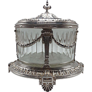 English Silverplate with Crystal Liner Biscuit Box