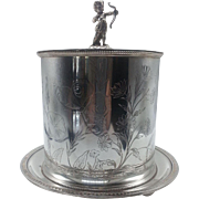 English Silverplate Cherub Chased Biscuit Box