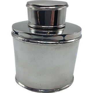 English Sterling Oval Tea Caddy