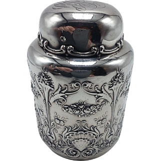 Sterling Round Embossed Tea Caddy