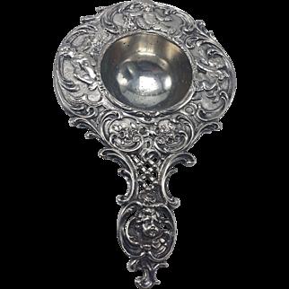 Victorian Silverplate  Tea Strainer with Cherubs