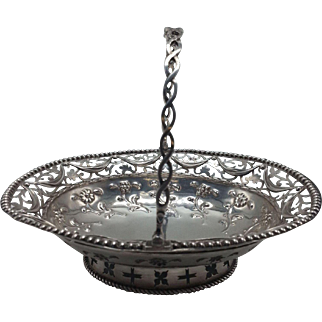 English Sterling Small Handled Pierced Basket