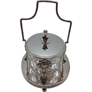 English Silverplate and Cut Crystal Butter Dish with Lion Crest Finial