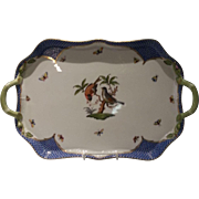 Herend Rothschild Bird Blue Border Rectangle Branch Handled Tray
