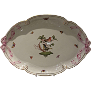 Herend Rothschild Bird Tray with Pink Ribbons