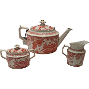 Red Aves Royal Crown Derby 3 Piece Tea Set