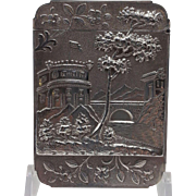 American Coin Silver Card Case with Raised Castle Scenes.