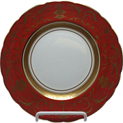 Regency Red Incrustation Salad Plate by Royal Crown Derby