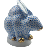 Herend Blue Fishnet Large Sitting Chinese Rabbit