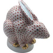 Herend Rust Fishnet Large Sitting Chinese Rabbit