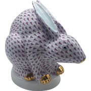 Herend Lavender Fishnet Large Sitting Chinese Rabbit