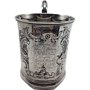 Antique Coin Silver Paneled Cup by W.S. Wood New York, New York
