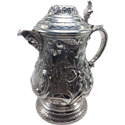 German 20th Century 800 Silver Handled Tankard with Figural Head Spout