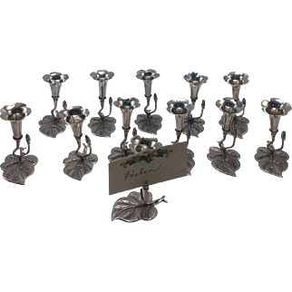 Set of 12 800 Silver Place Card Holders with Bud Vase on Large Shaped Leaf