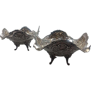 Pair of Dutch Sterling Silver Bon Bon with Repoussed Birds