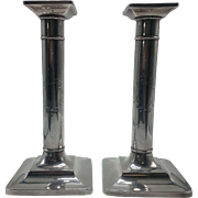 Pair of Tiffany Sterling Candlesticks with a Shield Design