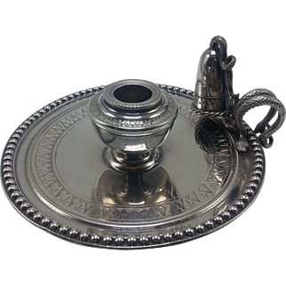 English Silverplate Egyptian Revival Chamberstick with a Snake Handle