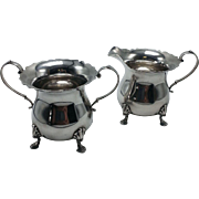 Sterling Shell Footed Creamer and Sugar Set