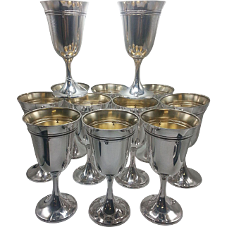 Set of 12 Gorham Sterling King Albert Sterling Goblets