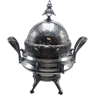 Wilcox Victorian Silverplate Medallion Head Covered Butter Dish