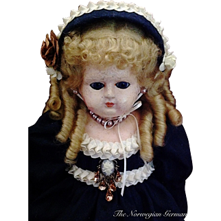 """1800s Lovely Early Wax-Over Papier Maché Doll ~ 21"""" ~ Germany"""