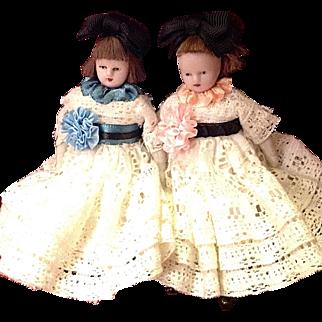 "Precious Antique Dollhouse Sister Dolls ~ German/French ~ 5"" ~ 1800s"