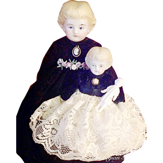 Antique Parian Mother/Daughter German Dollhouse Dolls