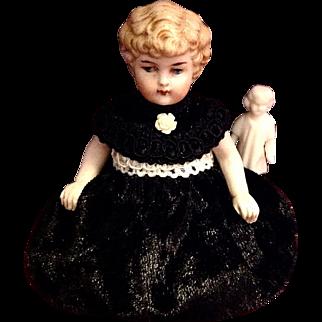 Sweet Little Antique Parian Bisque German Dollhouse Doll