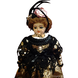 Antique German or French Papier Maché Doll ~ Mystery Mademoiselle