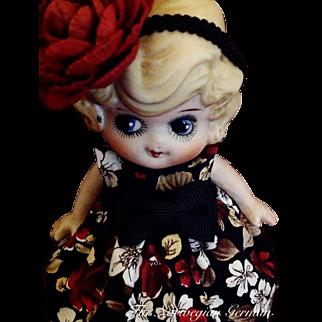 Sweet Little Kewpie Flapper Bisque Doll ~ 6in.